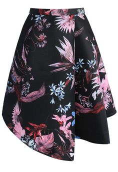 Snazzy Flowers Asymmetric Printed Skirt- New Arrivals - Retro, Indie and Unique Fashion
