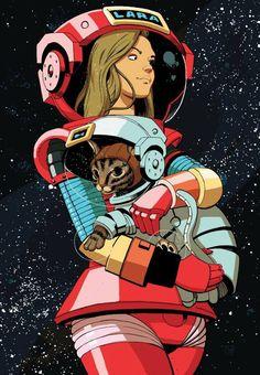 Gata y mujer en el espacio
