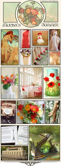 Mood Board: Modern Mucha – An Art Nouveau Wedding - Red Poppies wedding - A Colorado Courtship Blog Nasturtium and Poppy bouquets and centerpieces - Alphonse Mucha Red Poppy Cake - Summer by Alphonse Mucha Wedding - Wedding at the Prospect Park Boat House