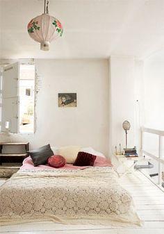 Bedroom - bed duvet / blanket - paper light - neutral (white, pink, grey) - floor bed - plywood / wood - texture / crochet - white floor