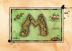 READYTOSHIP Alphabet Treasure Map / Letter M by paintandink, $150.00