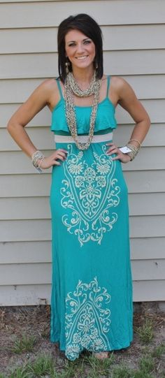 Lets Make It Happen Tonight Turquoise Maxi Dress  Price: $44.95 with a blue jean jacket for rodeo!! perf