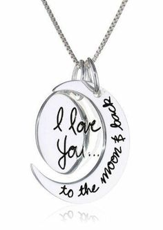 """Sterling Silver """"I Love You To The Moon and Back"""" Two Piece Pendant Necklace ♥"""
