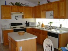 Small kitchen with island.