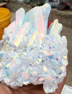 598g Angel Aura Quartz Crystal Platinum & Silver Coated Rainbows #631