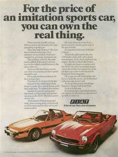 """An original 1976 advertisement for the Fiat 124 Spider and Fiat X1/9. A red convertible and yellow sidekick. -1976 Fiat advertisement print -Measures: 8"""" x 11"""", original size -Limited production, out"""