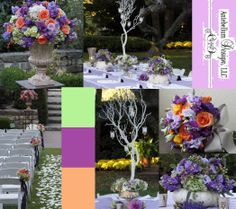 Beautiful fall wedding in purples and accents of soft orange and green.  Love the Cinderella pumpkin centerpieces by AntebellumDesign.com