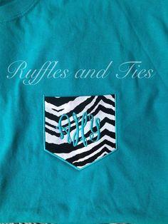 Personalized turquoise pocket tee shirt t shirt with zebra print pocket on Etsy, $18.00