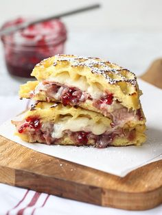 The waffles really work well! I don't like Monte Cristo's on regular bread, and brioche is just a little too sweet. Love the waffles. Not staple material, but a really fun, good sandwich. Breakfast And Brunch, Breakfast Recipes, Brunch Recipes, Breakfast Waffles, Waffle Breakfast Sandwiches, Pancakes, Yummy Recipes, Snack Recipes, Ham Recipes