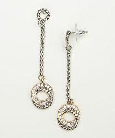 Clear Crystal Fancy Open Circle Drop Earring #zulily #zulilyfinds should I?  They're only 6.99 but very long... 2.5 inches