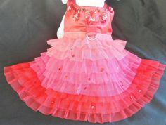 Ruby Red Satin Dog Dress with Swarovski Crystals, Sequins, Pink and Red Ruffles. Perfect Holiday, Wedding or Party Pet Wear. Dog Dresses, Satin Dresses, Flower Girl Dresses, Black Satin Dress, Red Satin, Dog Wedding Attire, Wedding Dresses, Dog Tuxedo, Blue Tutu