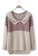 Light Purple White Crochet Collar Perals Fluffy Sweater $41.94 #SheInside
