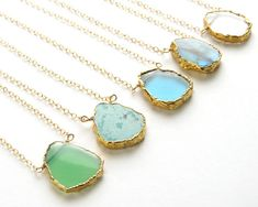 Gemstone Slice Necklace Organic Shaped Slice in Gold vermeil Simple Gemstone Jewelry Gold Edge Stone Layering Necklace