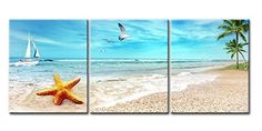 Canvas Print Wall Art Painting For Home Decor Seascape Of Sandy Beach With Palm Trees Golden Starfish Sea Gull Flying In The Sky And Sailing Boat In Blue Sea 3 Pieces Panel Paintings Modern Giclee Stretched And Framed Artwork The Picture For Living Room Decoration Seascape Pictures Photo Prints On Canvas