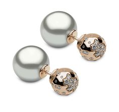 YOKO London front-back earrings in rose gold and diamonds, with two grey Tahitian pearls.