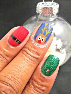 Fairly Charming: 12 Manis of Christmas: Santa/Rudolph! Great Nails, Love Nails, How To Do Nails, Fun Nails, Christmas Manicure, Christmas Nail Designs, Christmas Nail Art, Nails 2016, Nail Time