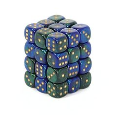 Chessex Gemini Opaque 12mm d6 Blue-Green with gold Dice Block