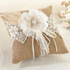 Burlap Lace Ring Pillow | 1 ct