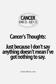 What you should know about Cancer / Cancer zodiac/ Cancer personality traits/ Cancer facts/ Cancer quotes zodiac Horoscope Du Cancer, Cancer Zodiac Facts, Cancer Quotes, Zodiac Sign Facts, My Zodiac Sign, Zodiac Horoscope, Zodiac Quotes, Cancer Zodiac Women, Zodiac Memes