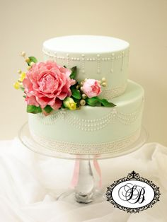 duck egg wedding cake, flowers and pearls, tiered