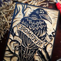 "It's Amazing as an Artist to see the Wood Blocks and how much works goes into them before they are used for Printing. This is CAW-Some!! ""Nevermore"" Wood Block by Derrick Castle"