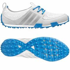 Running White/Silver Metallic/Chambray Adidas Ladies Climacool Ballerina II Golf Shoes at #lorisgolfshoppe