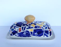 geo lemon butter dish by butterbiskit on Etsy