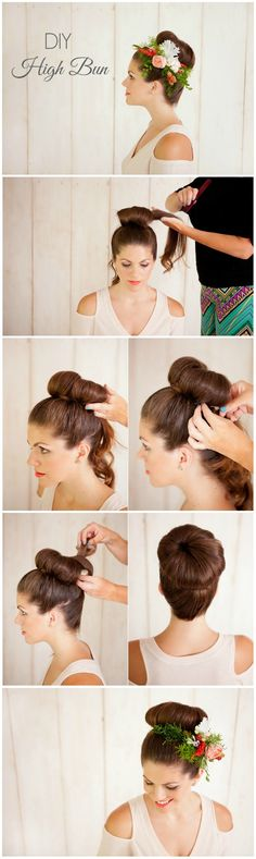 DIY high bun tutorial. I love the addition of the flower comb! by Danielle Evans Photography #weddinglooks #weddinghair