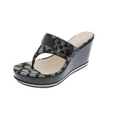 Coach || Gypsy B/W Signature Patent Thong Sandals Shoes || BHFO