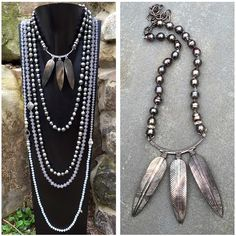 Layers of grey with a gorgeous new statement piece. #scarterdesigns #tahitianpearls #handcarved #motherofpearl #pavediamonds #tahitians #pearls #natural #obsessed #jewelry #necklaces #layered #shadesofgrey
