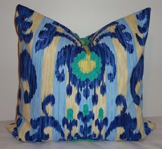 One Ikat Blue Green Yellow Pillow Cover Decorative by HomeLiving, $32.00