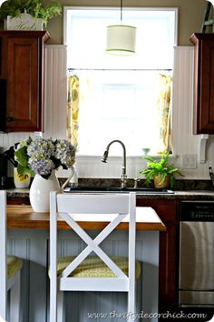 Brighten up the kitchen with a beadboard backsplash (How-to instructions -- installed over tile!)