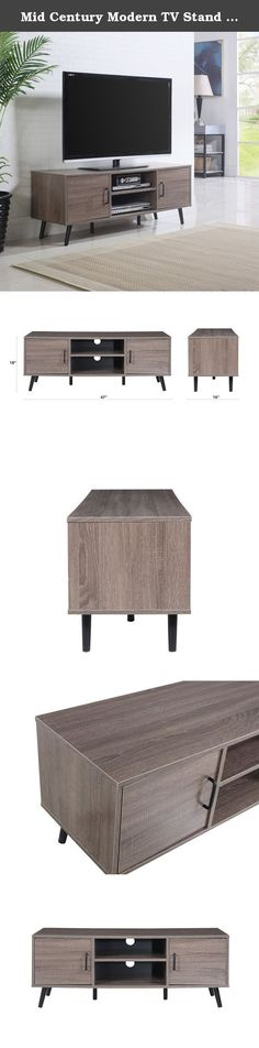 """Mid Century Modern TV Stand (Ash). Divano Roma Furniture introduces the new line of living room entertainment furniture. This mid century modern TV stand is the perfect fit for any living room and holds TV's as big as 45"""" inches. Fully equipped with 2 middle shelves and 2 side cabinets. Also includes 6 legs for extra support."""