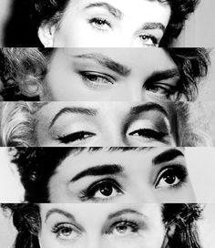 Elizabeth Taylor, Lauren Bacall, Marilyn Monroe, Audrey Hepburn, and Vivien Leigh's eyebrows.