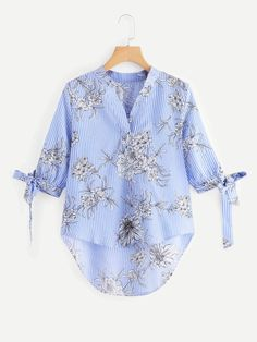 SHEIN offers Knot Cuff Floral Print Dip Hem Blouse & more to fit your fashionable needs. Saree Blouse, Ruffle Blouse, Indian Blouse, Blouse Online, Shirt Blouses, Shirts, Blouse Designs, Fashion News, Kimono Top