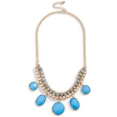 GUESS Blue Faceted Statement Necklace ($32) ❤ liked on Polyvore