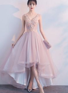 Pink Prom Dresses Lace 2019 V-Neck High Low Graduation Dress Asymmetric . - Pink Prom Dresses Lace 2019 V-Neck High Low Graduation Dress Asymmetrical Party Dress - Pink Party Dresses, V Neck Prom Dresses, Cute Prom Dresses, Tulle Prom Dress, Dresses For Teens, Homecoming Dresses, Lace Dress, Tulle Lace, Pink Tulle