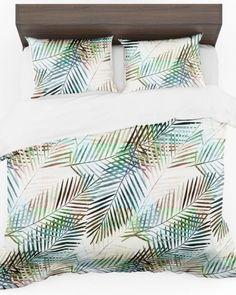Jednoduchá posteľná obliečka v bielej farbe s palmovými listami (2) Bed Pillows, Pillow Cases, Quilts, Blanket, Home, Colors, Pillows, Quilt Sets, Ad Home