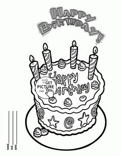 Happy Birthday Cake Card For Friends Coloring Page Kids Holiday Pages Printables Free