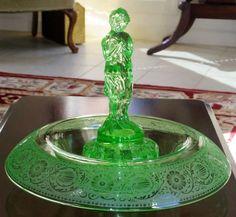 d300b8bba7cf ANTIQUE CAMBRIDGE GLASS Green Rolled Edge Bowl Etch  727 Figurine Figural  Crystal Draped Lady Bashful Charlotte Frog Flower Holder Excellent