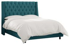 Tufted Wingback Bed in Shantung Peacock - traditional - beds - Walter E. Smithe, The Mark