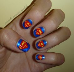 Superman Nail Art, by PixieAmor
