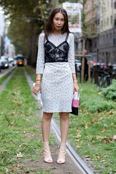 Ciao Bella! Street Style Straight From Milan Fashion Week,  cute showing the bra over the dress