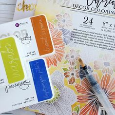 Watercoloring with @primamarketinginc NEW Color Philosophy ink pads? Heck, yeah!!! They're perfect when paired with a water brush! (See Cari show a few coloring peeks on Prima's Facebook page at 11 am PT!) #watercolor #coloringbooks #winter2016 #new