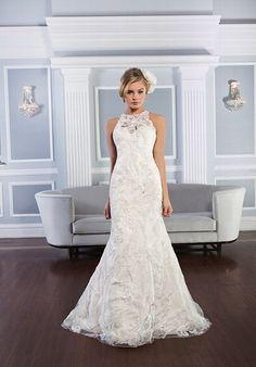 Mit Perlen besetztes, ärmelloses Hochzeitskleid im Meerjungfrauen-Stil mit Halsausschnitt aus Juwelen und einem transparenten Rücken - von Lillian West