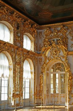Baroque Interior at the Grand Palace, Peterhof, St. Petersburg, Russia.