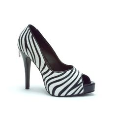PH451-HARLOW, 4.5 Heel with 3/4 Platform Peep-Toe Pump in Faux Zebra or Leopard Suede by Penthou