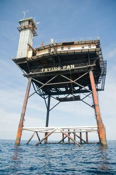 Frying Pan Tower - 34 miles off the coast of North Carolina is a retired Coast Guard station turned into a bed and breakfast