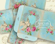 CHIC ELEGANCE - Printable Digital Sheets Set of envelopes and victorian style greeting cards.