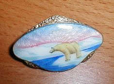 Jewels Collecting Dust - Archive Sold Enamel - Jewelscollectingdust Retailer of Antique & Collectible Jewellery. Art Nouveau Jewelry, Jewelry Art, Jewlery, Vintage Jewelry, Midnight Sun, Enamels, Enamel Jewelry, Polar Bear, Norway